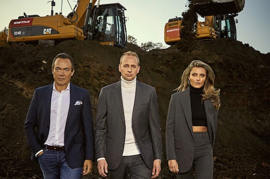 Schüttfix shareholders Thomas Hagedorn, Christian Hülsewig and Sophia Thomalla (from left). Photo: Schüttflix / andra photography.
